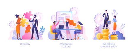Workplace culture concept. Workplace and racial discrimination, equal employment opportunity, shared values, harassment, prejudice and bias metaphor. Set of flat cartoon vector illustrations
