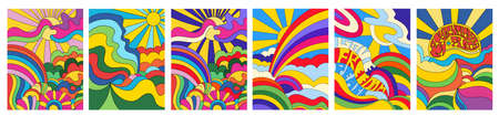 Set of 6 brightly colored psychedelic landscapes