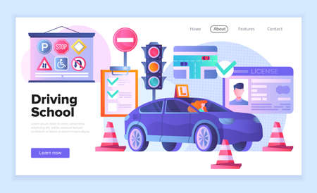Web page template for a driving school