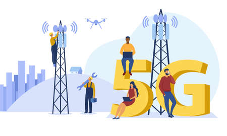 5g technology and communication concept.