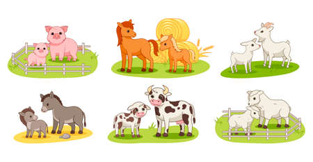 Set with domestic animals and their babies Illustration