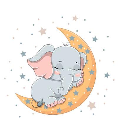 Cute baby elephant sleeping on the crescent Illustration