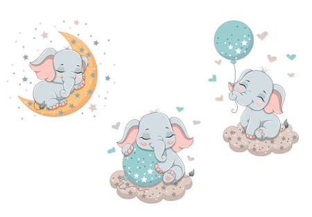 Sketches with a little cute baby elephant