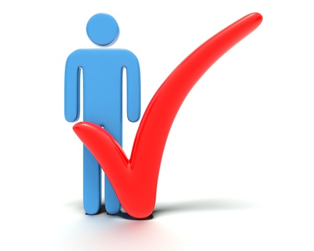 A big Red 3D tick or check mark selecting or  ticking  a blue stylized character or stick figure  Rendered against a white background with a  soft shadow and reflection to enhance the 3D  Stock Photo