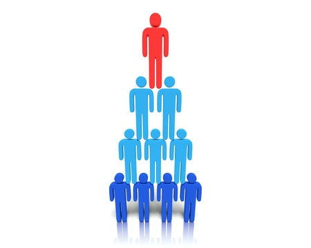 A 3D concept graphic depicting leadership, teamwork and organization. Rendered against a white background with a  soft shadow and reflection to enhance the 3D. Stock Photo