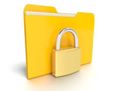 A 3D concept graphic depicting a folderfile security concept photo