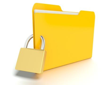 A 3D concept graphic depicting a folderfile security concept photo