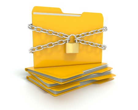 A 3D concept graphic depicting a folderfile security concept. Rendered against a white background with a  soft shadow and reflection to enhance the 3D.