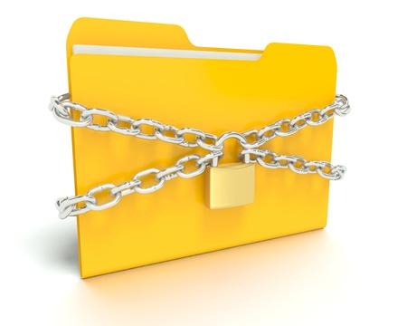 A 3D concept graphic depicting a folderfile security concept