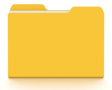 enhance: A 3D concept graphic depicting a folder o file concept. Rendered against a white background with a  soft shadow and reflection to enhance the 3D.