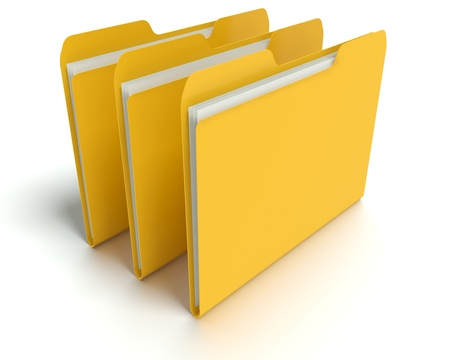 A 3D concept graphic depicting a folder o file concept. Rendered against a white background with a  soft shadow and reflection to enhance the 3D. Stock Photo - 14324276