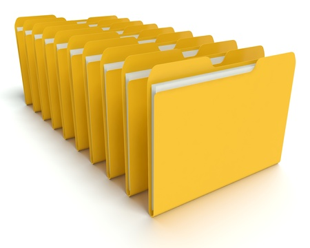 A 3D concept graphic depicting a folder o file concept. Rendered against a white background with a  soft shadow and reflection to enhance the 3D. Stock Photo - 14324277