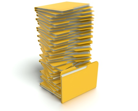 A 3D concept graphic depicting a folder o file concept. Rendered against a white background with a  soft shadow and reflection to enhance the 3D.
