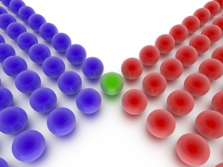 Spheres depicting a leadership or teamwork concept