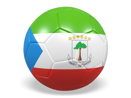 Footballsoccer ball with a flag for Equatorial Guinea Stock Photo
