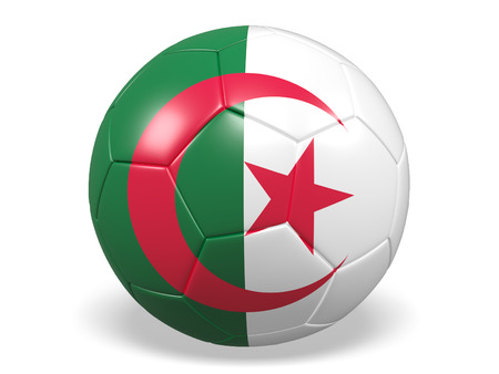 Footballsoccer ball with a flag for Algeria