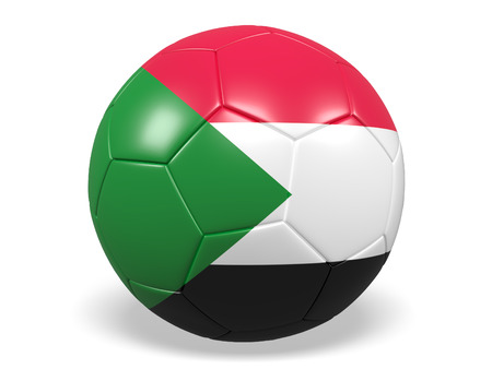 Footballsoccer ball with a flag for Sudan