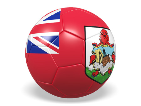 Footballsoccer ball with a flag for Bermuda Stock Photo