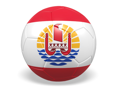 Footballsoccer ball with a flag for Tahiti Stock Photo