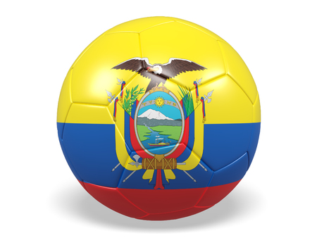 Footballsoccer ball with a flag for Ecuador Stock Photo