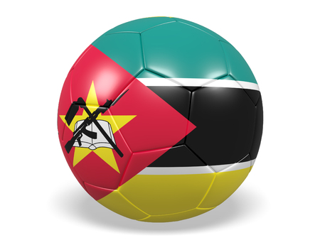 Footballsoccer ball with a flag for Mozambique