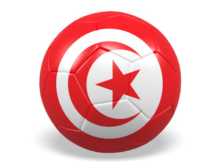 Footballsoccer ball with a flag for Tunisia