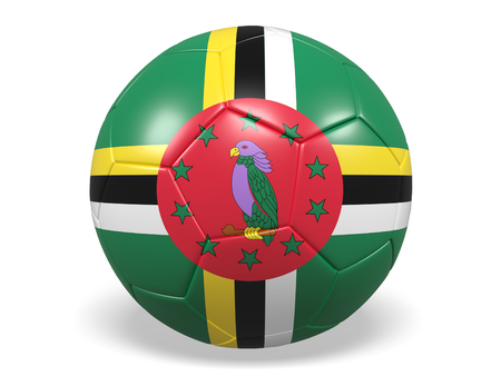 Footballsoccer ball with a flag for Dominica