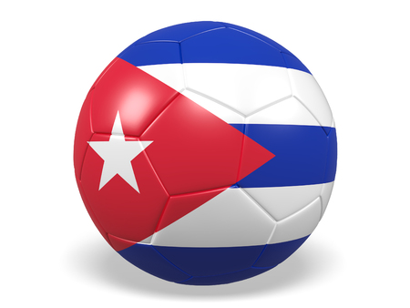 Footballsoccer ball with a flag for Cuba