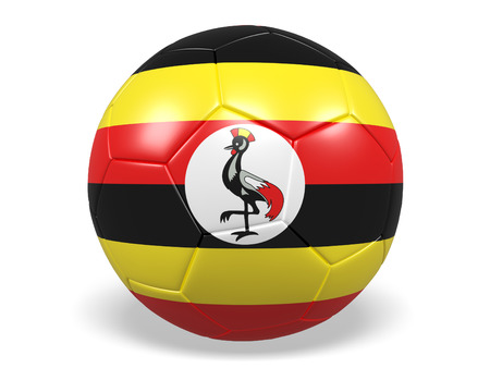Footballsoccer ball with a flag for Uganda