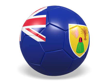 Footballsoccer ball with a flag for Turks and Caicos Islands Stock Photo