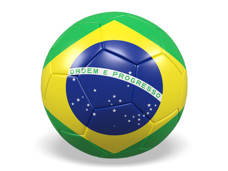 Footballsoccer ball with a flag for Brazil