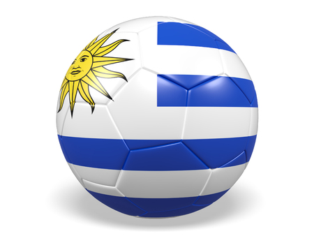 Footballsoccer ball with a flag for Uruguay