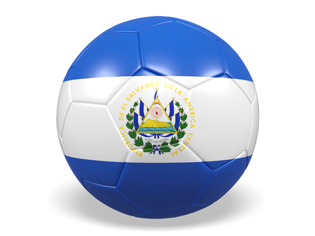 Footballsoccer ball with a flag for El Salvador
