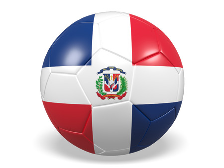 Footballsoccer ball with a flag for the Dominican Republic Stock Photo
