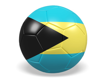 Footballsoccer ball with a flag for Bahamas Stock Photo