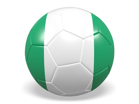 Footballsoccer ball with a flag for Nigeria Stock Photo