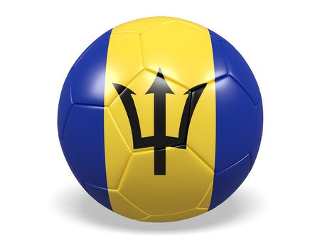 Footballsoccer ball with a flag for Barbados Stock Photo