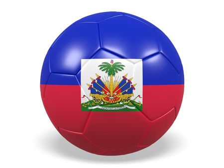 Footballsoccer ball with a flag for Haiti Stock Photo