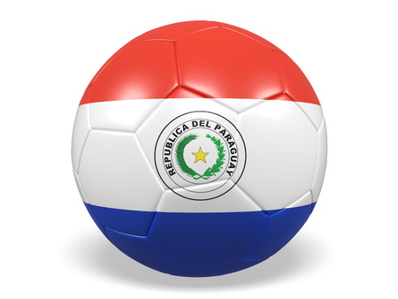 Footballsoccer ball with a flag for Paraguay