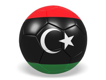 Footballsoccer ball with a flag for Libya