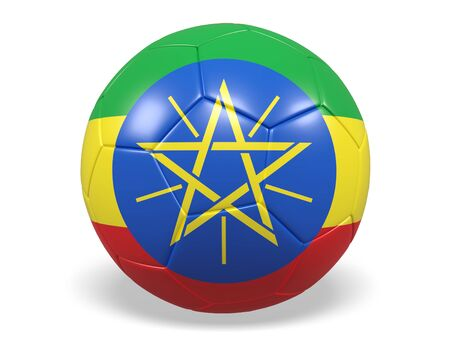the topics: Footballsoccer ball with a flag for Ethiopia