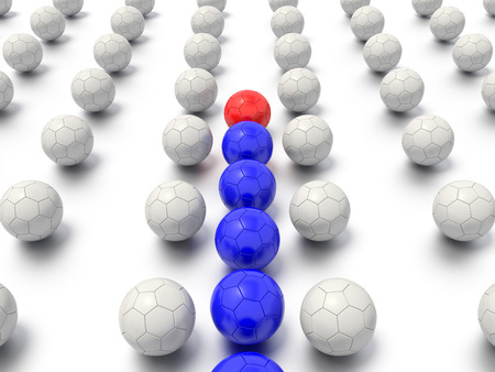 A 3D rendered sports leadership concept, with a leader helping a team to navigate a maze like grid. Stock Photo