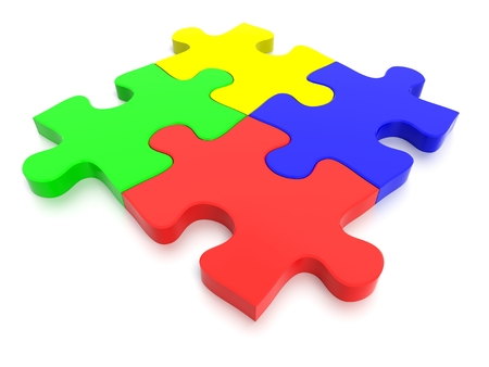 3D rendered Jigsaw Puzzle concept, depicting teamwork and connection Stock Photo