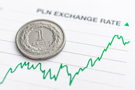 Polish zloty exchange rate: Polish zloty coin placed on a green graph showing increase in currency exchange rate 스톡 콘텐츠