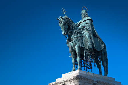 Statue of Saint Stephen I - the first king of Hungary in Budapest