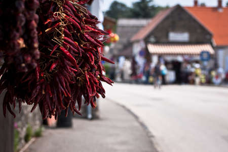 Street market and red paprika pepper selling Stock Photo