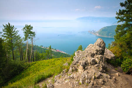Scenic landscape at the bay of Baikal lake in Siberia Russia photo