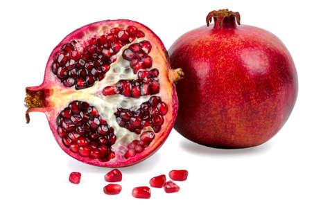 흰색 배경에 고립 잘 익은 석류 열매 스톡 콘텐츠