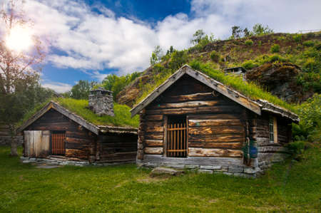 scandinavian landscape: Beautiful view on ancient scandinavian village and countryside landscape