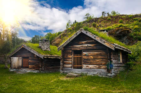 scandinavian landscape: Wonderful view on ancient scandinavian village and countryside landscape Stock Photo